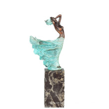 Weibliche Figur Hand-Made Bronze Skulptur Windy Lady Messing Statue TPE-740