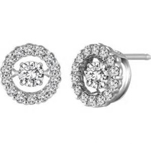 925 Stud Earrings Silver Dancing Diamond Jewelry