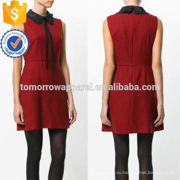Без рукавов красный и черный Раффлед воротник мини-летнее платье с галстуком Производство Оптовая продажа женской одежды (TA0234D)