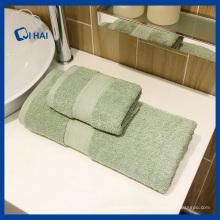 Serviette de bain en forme de couleur solide vert foncé (QHSD6609)