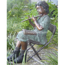 Garden Life Size Bronze Boy Sculpture