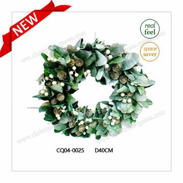 Dia 40 Cm Getrocknete Blätter PE Weihnachtskranz für Indoor Dekoration