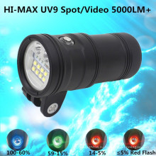 5000 Lm Spot / Wide Light для подводного плавания Водонепроницаемая камера для подводного спорта