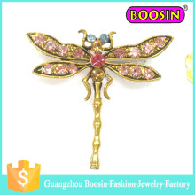 Commerce de gros Custom Men's Safety Pin Gold Metal Crystal Dragonfly Brooch