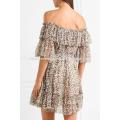 Mehrfarbige Off-The-Shoulder Kurzarm Printed Silk Mini Sommerkleid Herstellung Großhandel Mode Frauen Bekleidung (TA0007D)