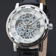 winner audacious skeleton design watch high quality leather band
