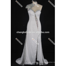 2017 New Sexy Backless Evening Dress One Shoulder Beading Split Evening Gown White Long Formal Gown
