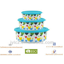Food storage with silicone lid, round, heart design