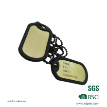 Promotional Custom Metal Blank Sliver Dog Tag with Chains