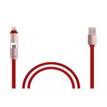 Hot-Sale Flat 2 en 1 câble USB avec synchronisation rapide et charge pour Ios, Android