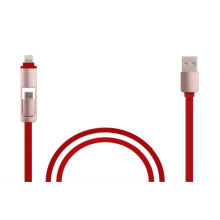 Hot-Sale Flat 2 in 1 USB Cable with Fast Sync and Charge for Ios, Android