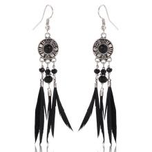 Black Feather Earrings Alloy Pendant Crystal Hook Earrings