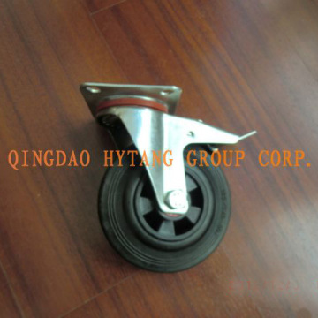 Industrial rubber caster wheel with plastic rim