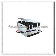 U168 5 Compartments Stainless Steel Knife Rack With Lid