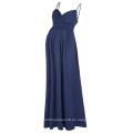Kate Kasin Sexy Womens Cómodo correas espaguetis V-Cuello Maxi vestido de maternidad KK000674-3