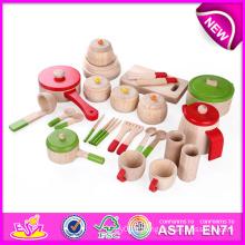 Accessoires en bois modernes de jouet de cuisine pour des enfants, accessoires en bois de cuisine de Hape, jouet de vaisselle, jouet de vaisselle W10b093