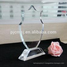 plaque de cristal, bloc de verre blanc, cadre photo, impression de logo couleur comme décoration de cadeau ou de souvenirs