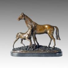 Бронзовая скульптура животных Мать-сын Лошадь Латунная статуя Тпал-152
