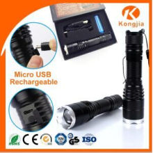 Black Color Good Quality Rechargeable Cheap LED CREE Zoomable T6 Classics Torch LED Aluminum