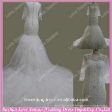 RP0076 Quality fabric heavy handmade High end appliqued pictures of long train lace long sleeve wedding dresses