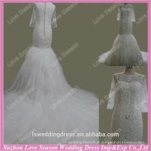 RP0076 Tela de qualidade artesanal pesada Imagens de alta qualidade aplicadas de longos vestidos de casamento de renda com dentes de trem longo