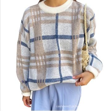 Suéter feminino folgado xadrez de lã