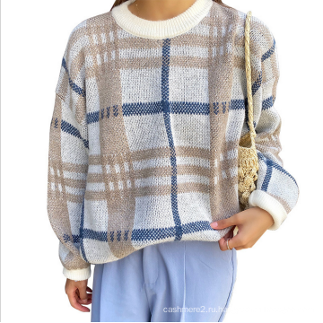 Женский шерстяной свитер в свободную клетку