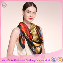 High Quality New Design Chinese Square 100% Silk Scarf