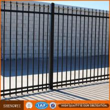 Clôture décorative noire de barrière d'acier de tuyau d'acier galvanisé