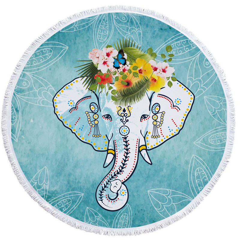 Groovy Unique Round Blue Elephants Animal Beach Towel