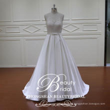 China custom made 2017 illusion appliqued bridal dress with butterfly waist
