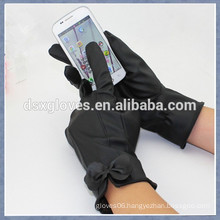 Fashional Ladies Leather Touch Screen Gloves with bowknot