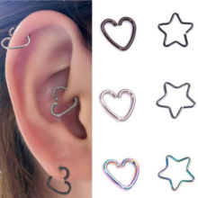 10Pcs Stainless Steel Heart/Star Ring Piercing Hoop Earring Helix Tragus Daith