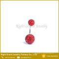 Moda al por mayor joyería del cuerpo del vientre Rhinestone Shamballa Ball seguro anillos del botón del vientre