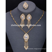 Made in china female accessories costume 3 pieces indian style jewelry set gold jewelry necklace