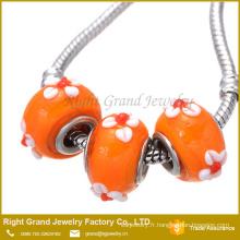 DIY mode Murano fleur lampwork gros trou perles de verre et perles de verre de Murano