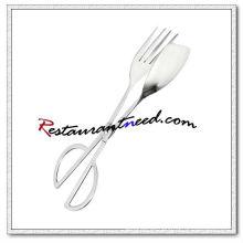 C404 10 Edelstahl Eine Seite Gabel Salat Scissor Food Tong