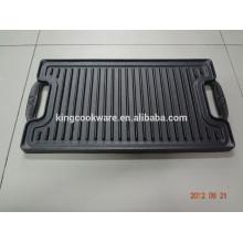venda quente de ferro fundido churrasqueira pré-temperado retangular dupla grelha reversível