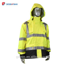 Durability 3M Reflective Safety Pocket Raincoat Suit With Mic Tabs And Zipper Front Closure