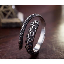 Anillo de plata de ley 925, anillo masculino, pulpo, modelado, retro, color, abierto