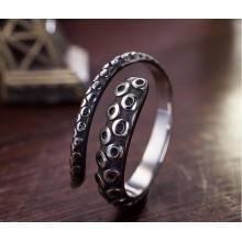 925 Sterling Silver Male Ring Octopus Modelagem Retro Colorhalf Aberto