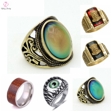 Boy Single Wood Eye Stone Ring Design, Men Stainless Steel Stone Gold Ring