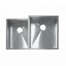 fregadero de cocina doble cuadrado fregadero hecho a mano de acero inoxidable 304