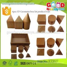 Juguete preescolar educativo de madera natural 6pcs 3D Geometry box set Juguetes preescolares
