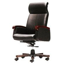 Chaise de bureau exécutive en bois en cuir noir en cuir (HF-CH023A)