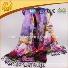 2015 New Design Indian Double Sided 100% Lenços de seda Atacado Pashmina Shawl