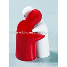contenedor de sal y pimienta de cerámica de color blanco y rojo