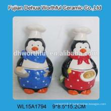 Pot en biscuit en céramique en forme de pingouin
