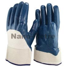 NMSAFETY Jersey liner 3/4 recubierto de seguridad cuff Heavy duty guante de nitrilo / guante de trabajo EN388 4111