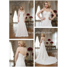 Attractive 2014 Slim Fit Lace A-Line Wedding Dress Custom Made Sweetheart Long Tail Church Bridal Gown Made In China NB0639